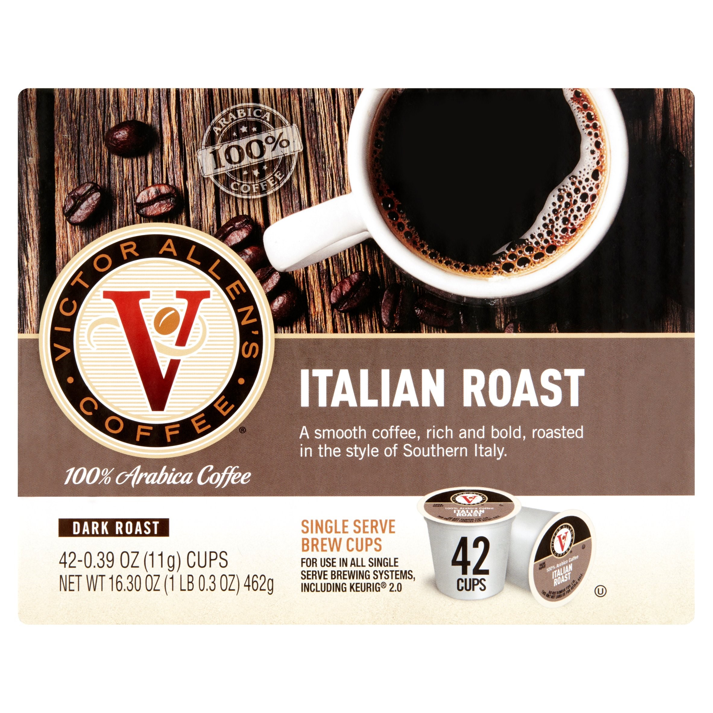 Victor Allen's Italian Roast 100% Arabica Coffee Single Serve Brew Cups, 0.39 oz, 42 count