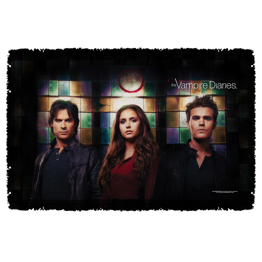 Vampire Diaries Stained Glass Woven Throw Tapestry 36X60 White One Size