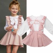 2PCS Toddler Kids Baby Girl Winter Clothes Ruffle Tops+Overall Skirts Outfits