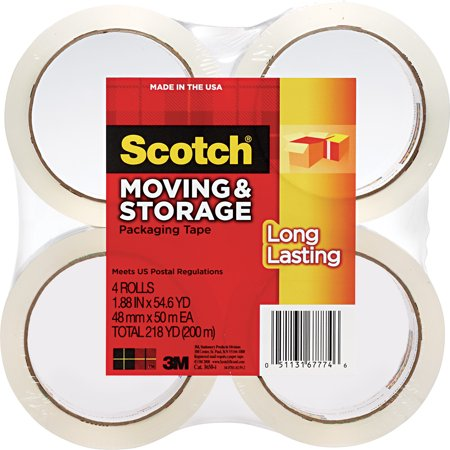 Scotch Long Lasting Moving & Storage Package Tape 4ct
