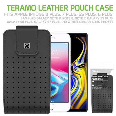 purchase cheap b74df 70fb5 Cellet Teramo Leather Pouch for Samsung Galaxy S9 Plus, Galaxy S8 Plus,  iPhone 8 Plus, 7 Plus, 6S Plus and More(Fits with Slim Case On) -  Walmart.com