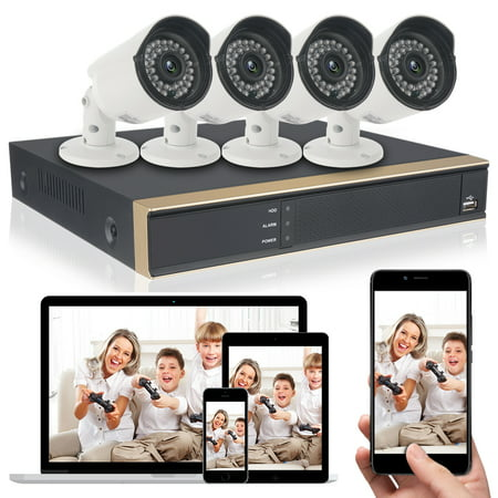 DID 4CH AHD 720P CCTV Camera Security System with 4 pcs IP Outdoor IR Night Vision Home Security Camera System White (Wireless Supporting iPhone &