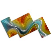 My Art Outlet Geometric Colored Ripples 3 Piece Graphic Art Plaque Set