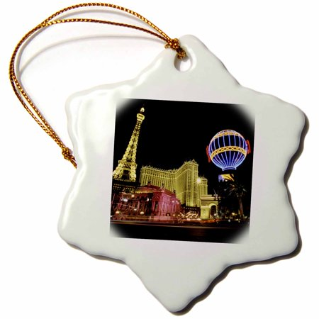 3dRose Paris Hotel and Casin at Las Vegas Strip United States - Snowflake Ornament, (37789 Roses)