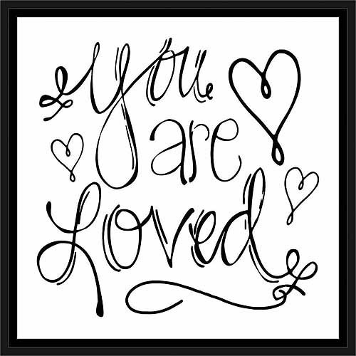 You Are Loved Hand Drawn Doodle Inspirational Typography Black & White, Framed Canvas Art by Pied Piper Creative