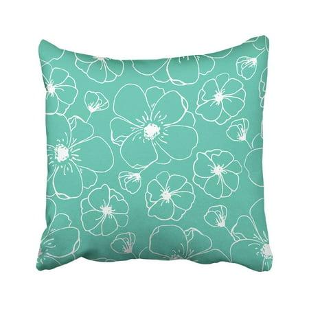 BPBOP Flower Modern Floral Pattern Teal Bloom Bloom Blossom Cute Flower Flower Pillowcase Cover 20x20 inch