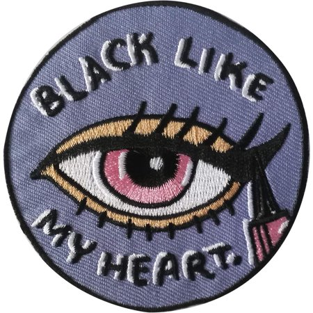 - Eyes Black Like My Heart - Sew Iron on, Embroidered Original Artwork - Patch - 3.7
