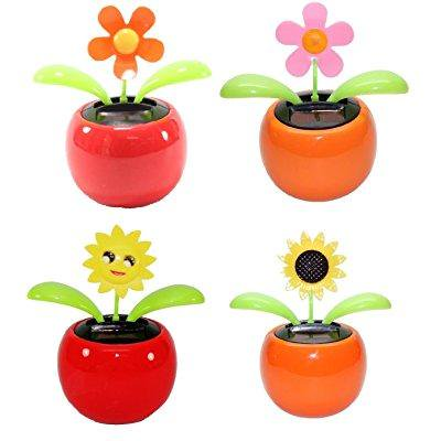 4 eco-friendly bobblehead solar dancing flowers in colorful pots. us seller. decoration gift. no battery required. comply with cpsc requirements (1 orange daisy, 1 pink daisy, 1 smiley face sunflower, (Pot Of Flowers Halloween)