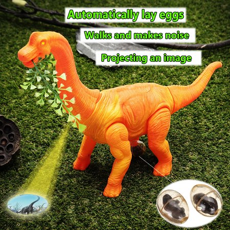Children Toys Christmas Gifts - Brachiosaurus Dinosaur Figure Model Battery Operated w/Walking Movement,Laying Eggs,wagging Tail,Light Up Eyes/Sounds,Projection Function (Unisex)