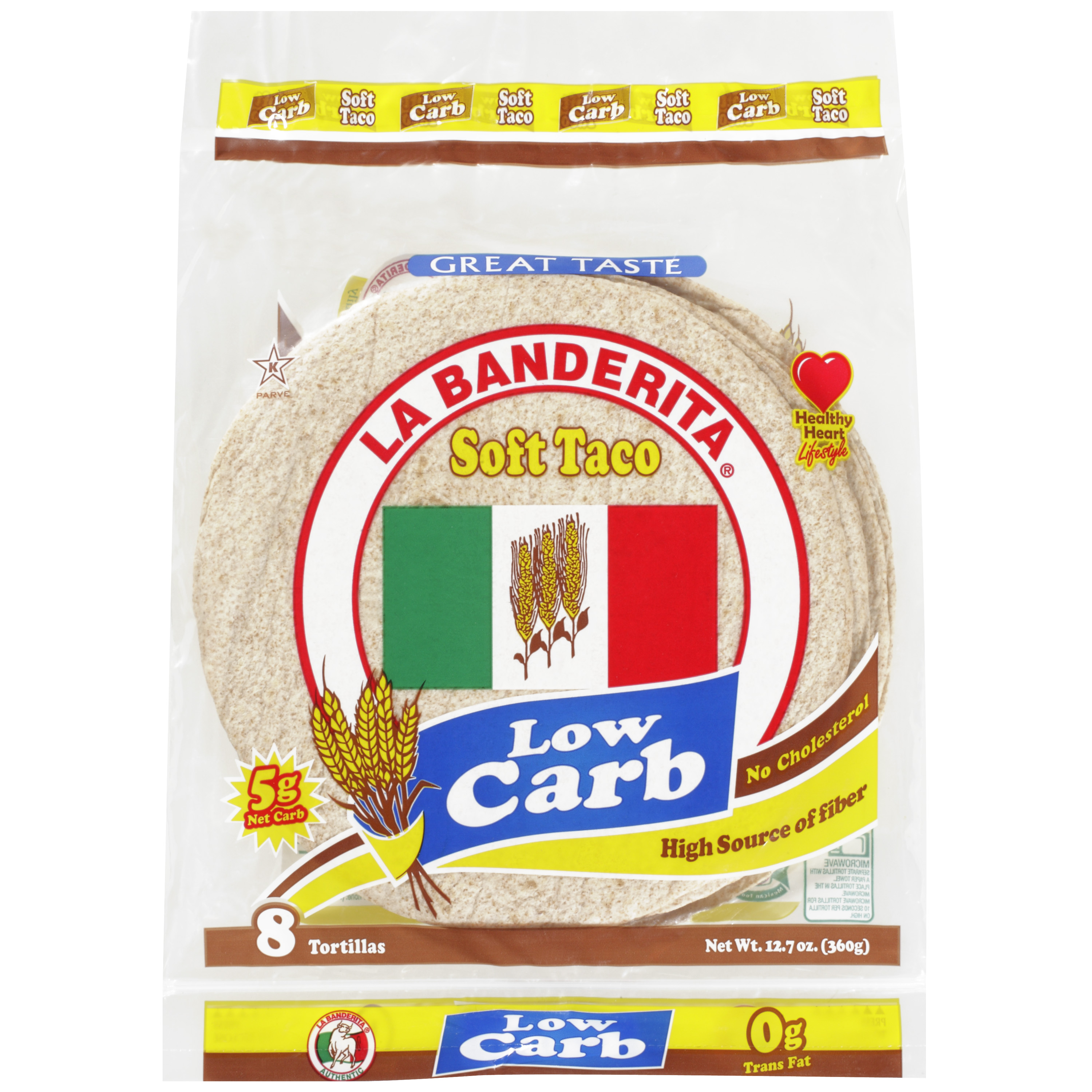 La Banderita 8 Inch Low Carb Soft Taco Wheat Tortillas, 8ct
