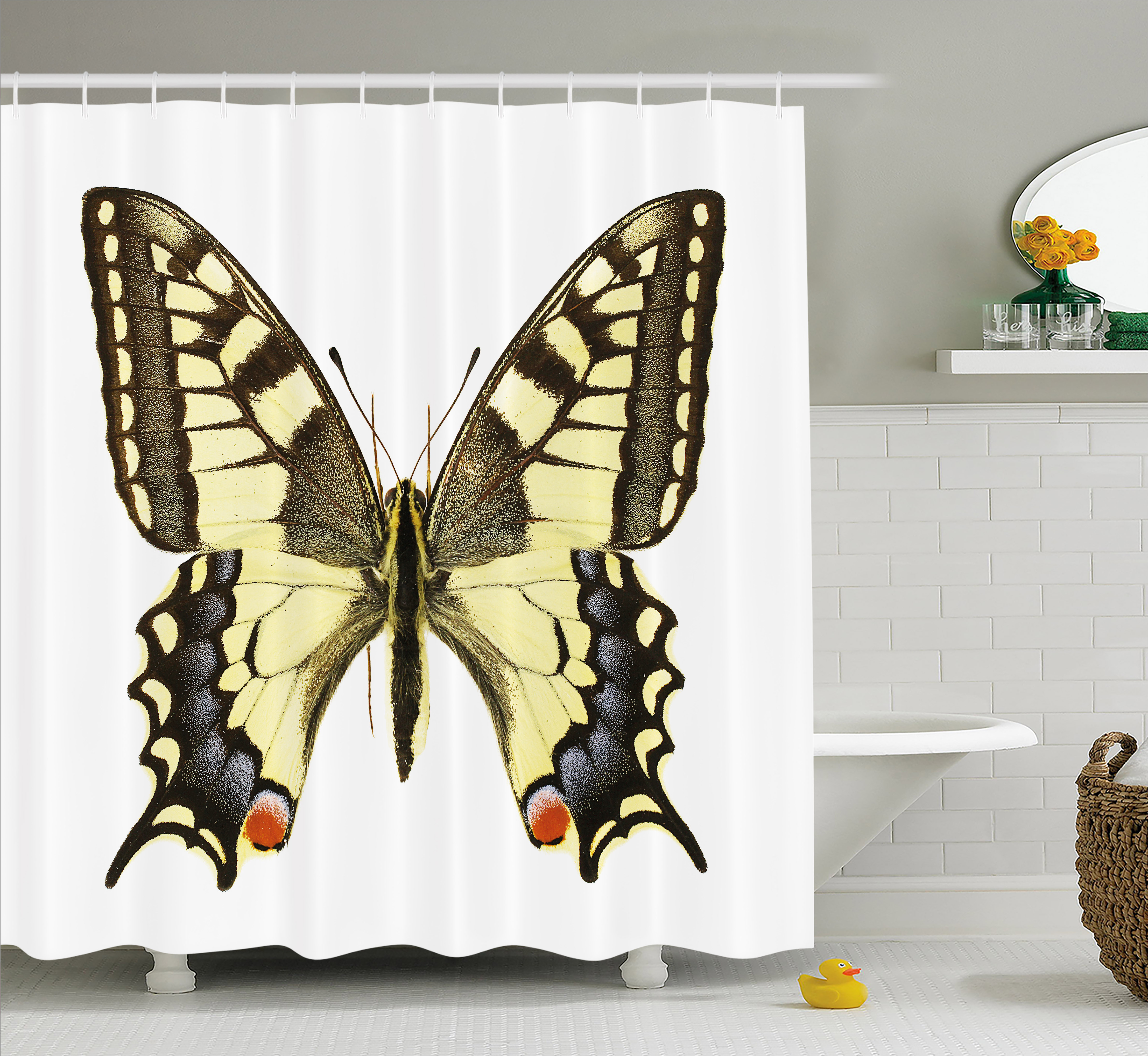 picture regarding Papilio Printable Vinyl titled Swallowtail Butterfly Shower Curtain, Yellow Papilio Machaon Outdated World-wide Swallowtail Wildlife Biology, Cloth Toilet Fixed with Hooks, Yellow Brown