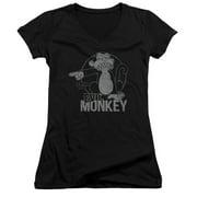 Family Guy - Evil Monkey - Juniors Cap Sleeve V-Neck Shirt - Small