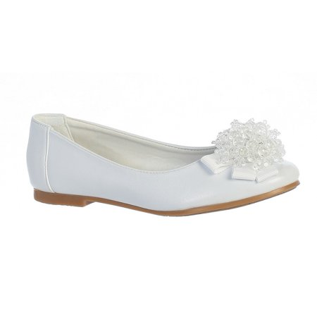 Girls White Crystal Bead Bow Anna Special Occasion Dress Shoes 11-4 Kids (White Girls Dress Shoes)