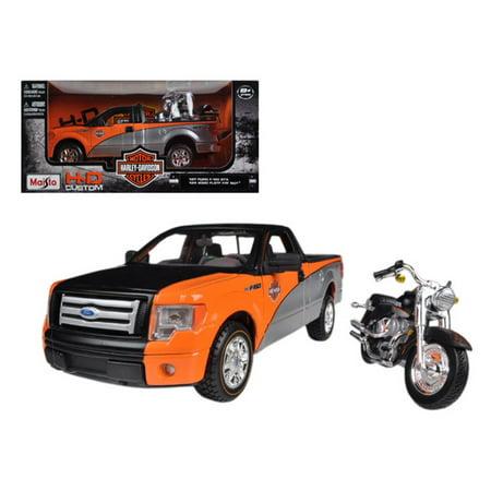2010 Ford F-150 STX Orange/Black/Silver 1/27 & 1/24 Harley Davidson FLSTF Fat Boy Motorcycle by (Harley Davidson Fat Boy Model)