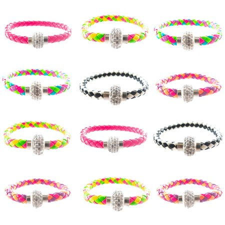 Faux Leather Cuff Bracelet Set for Women Girls Teens with Crystal Rhinestone Ball Magnet Clasp 12 PCs Set - PU Braided Leather Rope - Assorted Colors