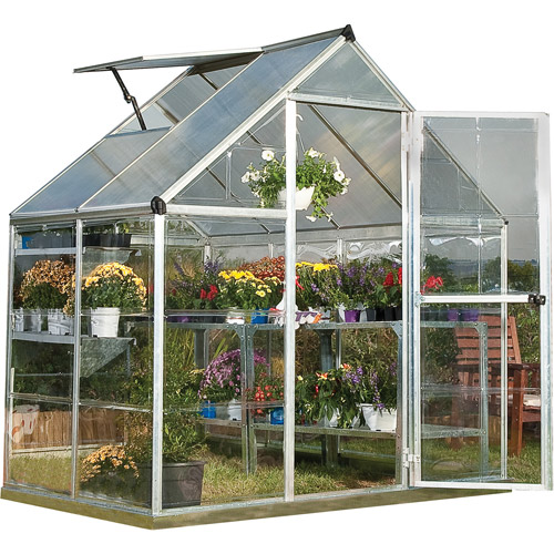 Palram Nature Series Hybrid Hobby Greenhouse, 6' x 4', Silver by Palram