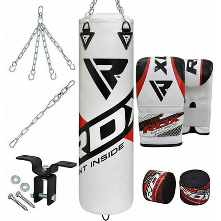 RDX 8pc Punching Bag Unfilled Heavy Boxing 5FT MMA Training Gloves Chains White