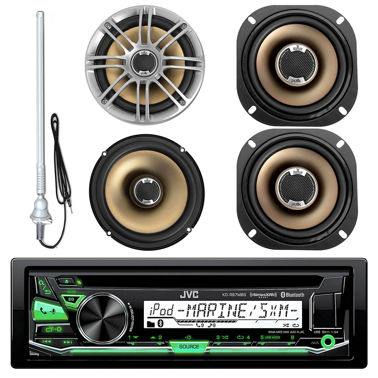 """JVC KD-R97MBS MP3/USB/AUX Bluetooth Marine Boat Yacht Stereo Receiver CD Player Bundle Combo With 2 Polk Audio 6.5"""" Audio Speakers + 2x 5"""" 2-Way Car/Boat Coaxial Speaker + Enrock 22"""" Radio Antenna"""