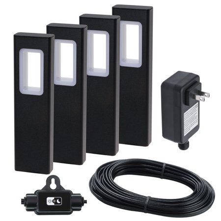 GreenLighting Modern Bollard Garden Path Light Kit w/Transformer (Black, 4pk) (Modern Path Light)