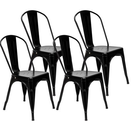 Top Knobs Metal Indoor Outdoor Chairs Distressed Tolix Metal Chair Stackable Dining Chairs Modern Style Chair Set of 4 (Black) ()