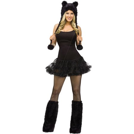 Black Cat Animal Hoodie Set Adult Halloween Accessory
