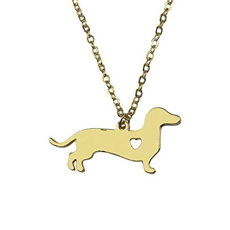 Art Attack Goldtone I Love My Dog Lover Heart Outline Dachshund Pet Puppy Rescue Pendant Necklace