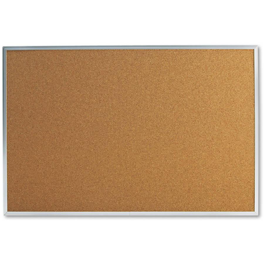 "Universal Bulletin Board, Natural Cork, 36"" x 24"", Satin-Finished Aluminum Frame"
