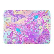 GODPOK Unicorn with Multicolored Mane Butterfly Rainbow Star and Love Heart in Pink Purple Colors on Colorful Rug Doormat Bath Mat 23.6x15.7 inch