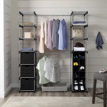 Mainstays Closet Organizer, 2-Tower 9-Shelves, Easy to Assemble, Black