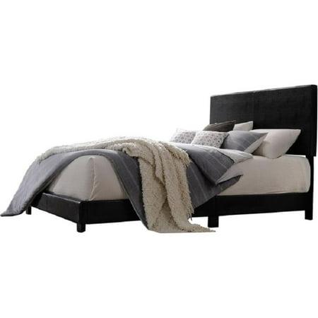 Acme Lien Panel Faux Leather Queen Bed, Black