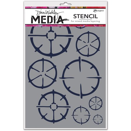 "Dina Wakley Media Stencils 9""X6""-Wheels"