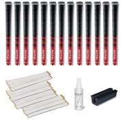 Golf Pride New Decade Multicompound (MCC) 0.580 Red Ribbed - 13 pc Golf Grip Kit (with tape, solvent, vise clamp)