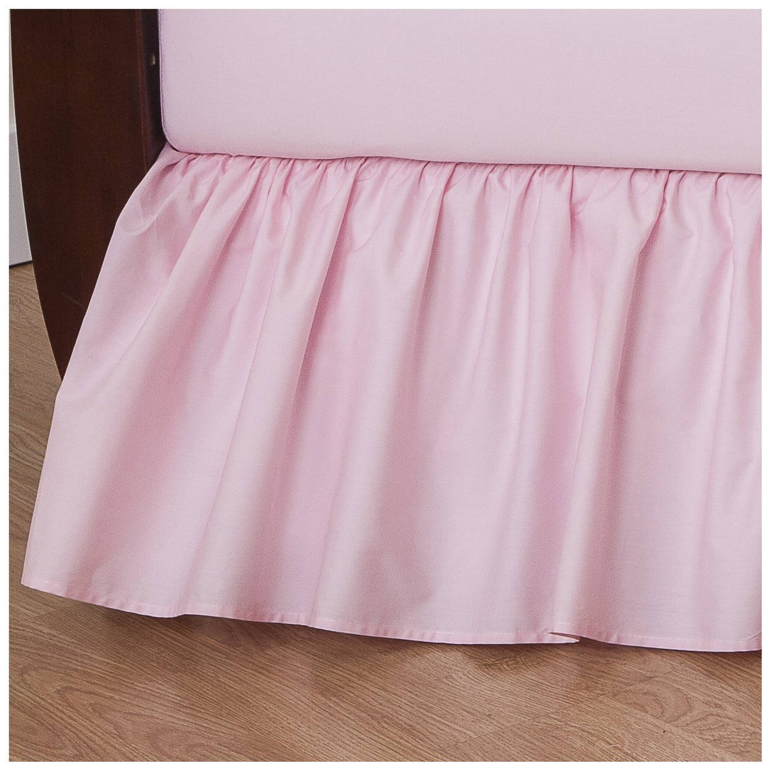 TL Care Cotton Percale Crib Bed Skirt, Pink