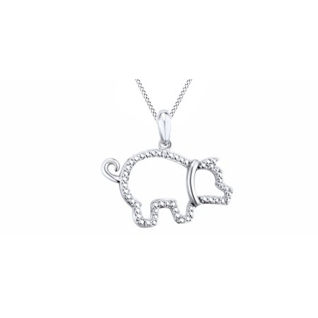 Natural Diamond Accent Beaded Pig Pendant Necklace In 14K White Gold Over Sterling Silver