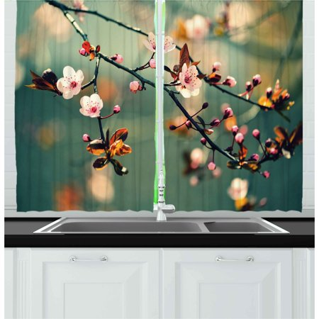 Nature Curtains 2 Panels Set, Spring Themed Asian Floral Flowering Japanese Cherry Sakura Photo, Window Drapes for Living Room Bedroom, 55W X 39L Inches, Pale Pink and Forest Green, by - Forest Themed Room Ideas
