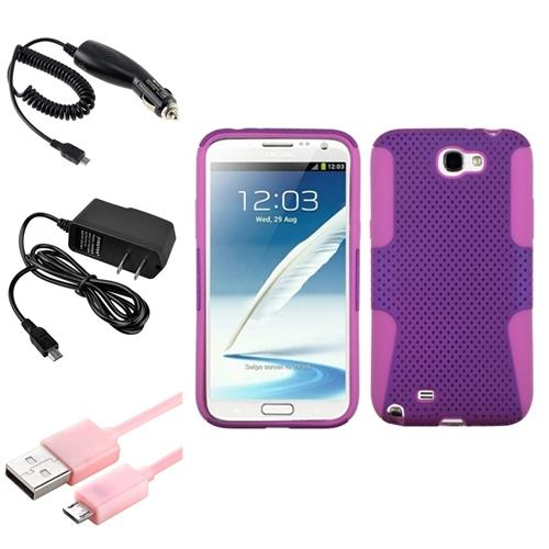 Insten Pink/Purple Hybrid Case+2x Charger+USB For Samsung Galaxy Note 2