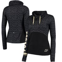 Purdue Boilermakers Colosseum Women's Scaled Cowl Neck Pullover Hoodie - Black