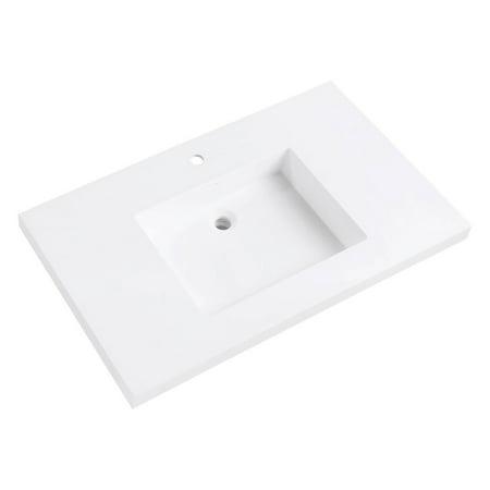 Integrated Bowl - Avanity VersaStone 37 in. Acrylic Single Sink Vanity Top with Integrated Sink