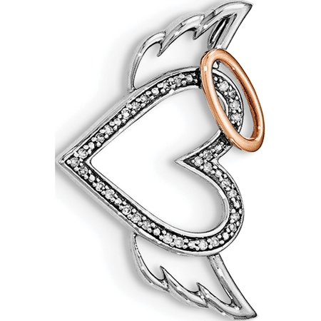 925 Sterling Silver Rhodium W/ Rose Dia. Heart/Wings Slide Pendant / Charm - image 2 of 2