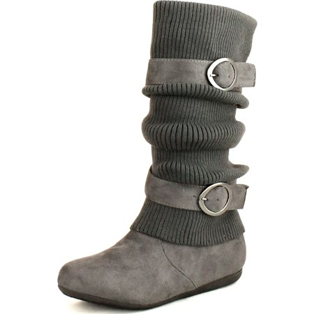 Top Moda Womens Bank-21 Sweater Slouchy Buckle Top Calf Wedge Boot Bank (Cheap Sweater Boots For Women)