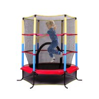"Trampolines for Kids, 55"" Mini Round Trampoline, Mini Trampolines for Kids, Heavy Duty Kids Trampoline w/ Safety Enclosure, 6 Legs Indoor/Outdoor Trampolines Kids, Best Gift for Kids, R717"