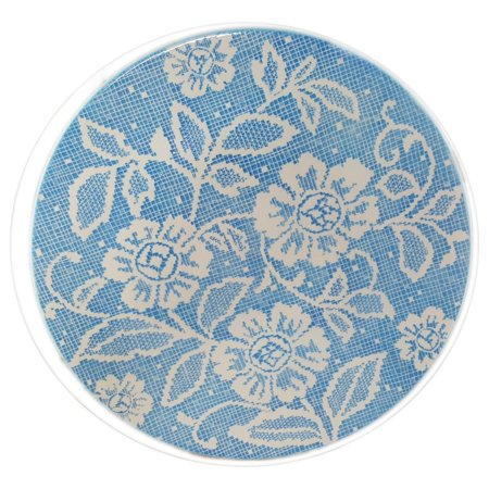 """Vintage 11"""" Ideal Ironstone China Serving Plate/Tray Blue Lace Dolly Pattern"""