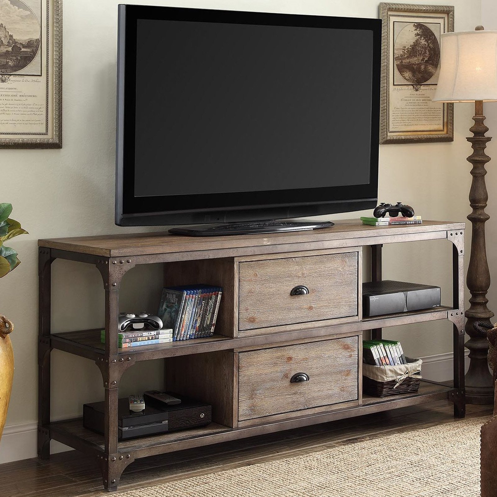 """Acme Gorden TV Stand for TVs up to 55"""", Weathered Oak and Antique Silver (Box 2 of 2)"""