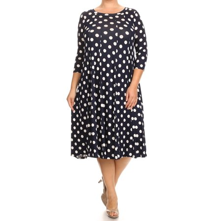 Women's PLUS trendy style polka dot  print 3/4 sleeve midi dress. (Red Polka Dot Dress Costume)