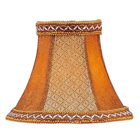Tan Linen Shade - Livex Lighting Tan/Brown Suede Bell Clip Shade with Fancy Trim