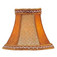 Livex Lighting Tan/Brown Suede Bell Clip Shade with Fancy Trim