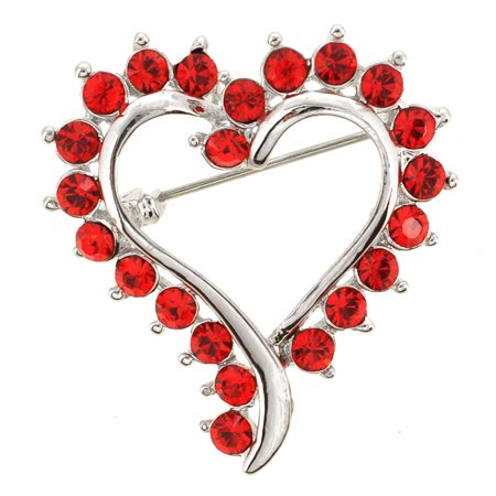 Swarovski Crystal Heart Brooch - Red Heart Pin Swarovski Crystal Pin Brooch and Pendant