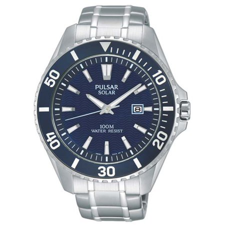 Mens On the Go Solar Watch - Blue Dial - Stainless Steel Case - 100M ()