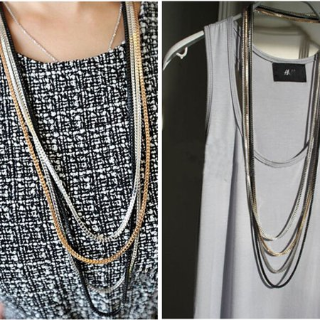 Jewellery Punk Metal Multi Layer Detachable Chain Strand Long Necklace ()