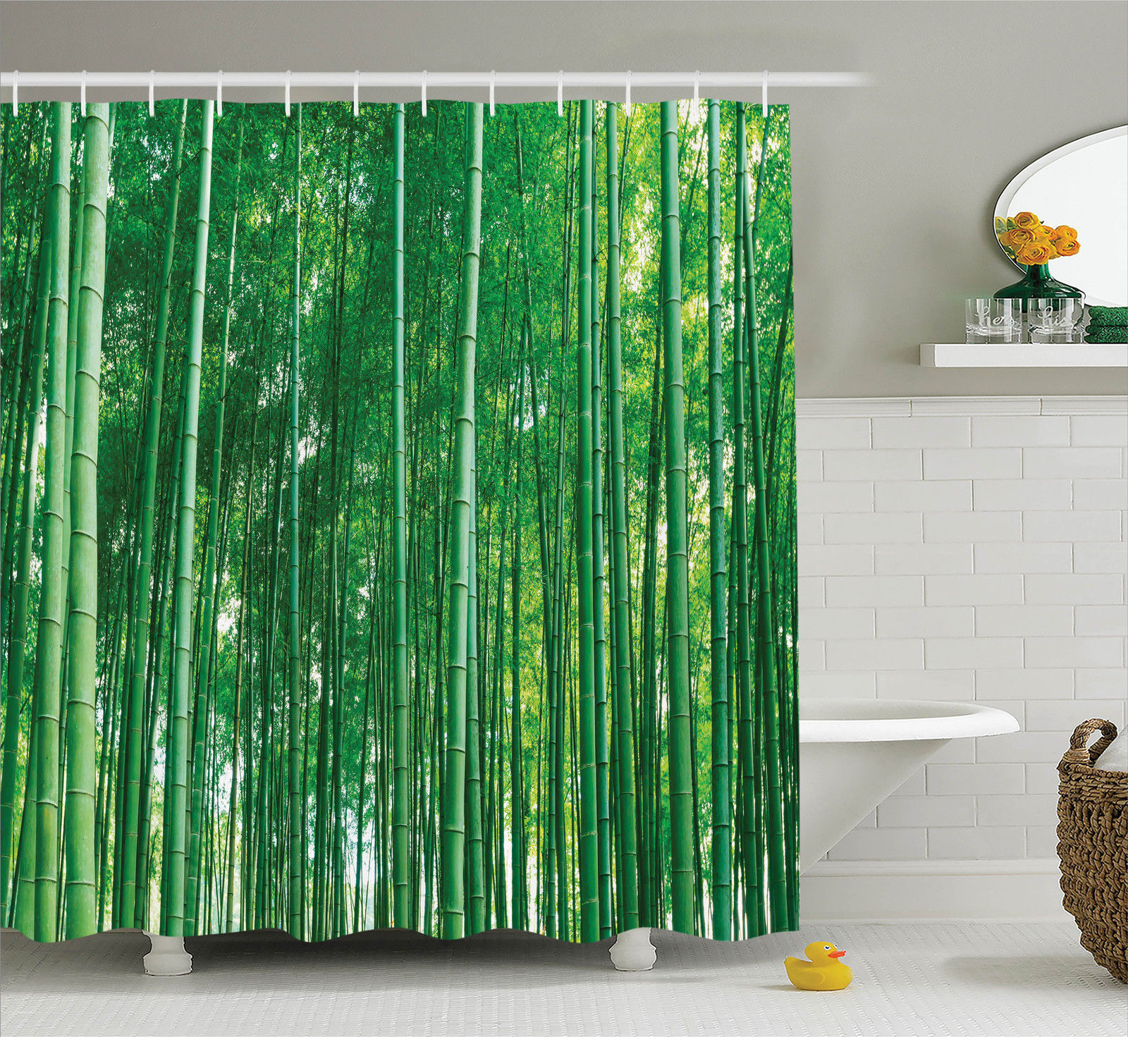 Bamboo House Decor Shower Curtain Set, Bamboo Forest With Fresh Vibrant Colors Tall Long Life Growth Deepness Symbol Zen Photo, Bathroom Accessories, 69W X 70L Inches, By Ambesonne